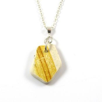 Yellow and White Beach Pottery on Sterling Silver Necklace AMIA