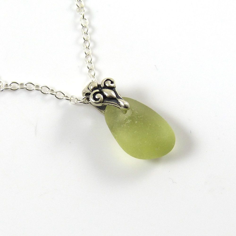 Pale Olive Sea Glass Necklace, Beach Glass Necklace, Seaglass Pendant, ADAL
