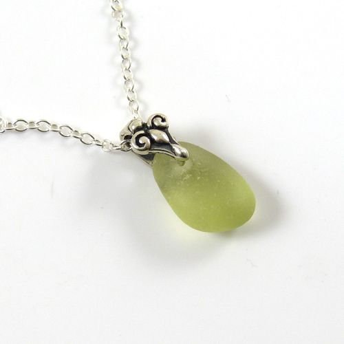 Tiny pale olive sea glass necklace beach glass necklace seaglass tiny pale olive sea glass necklace beach glass necklace seaglass pendant adalene aloadofball Images