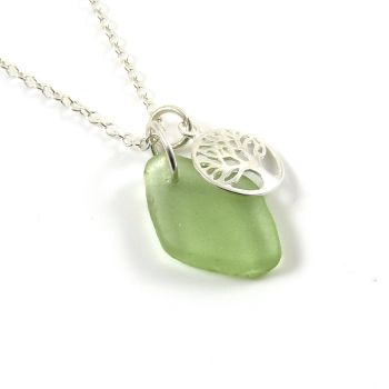 Cucumber Sea Glass and Sterling Silver Tree of Life Charm Cluster Necklace c259