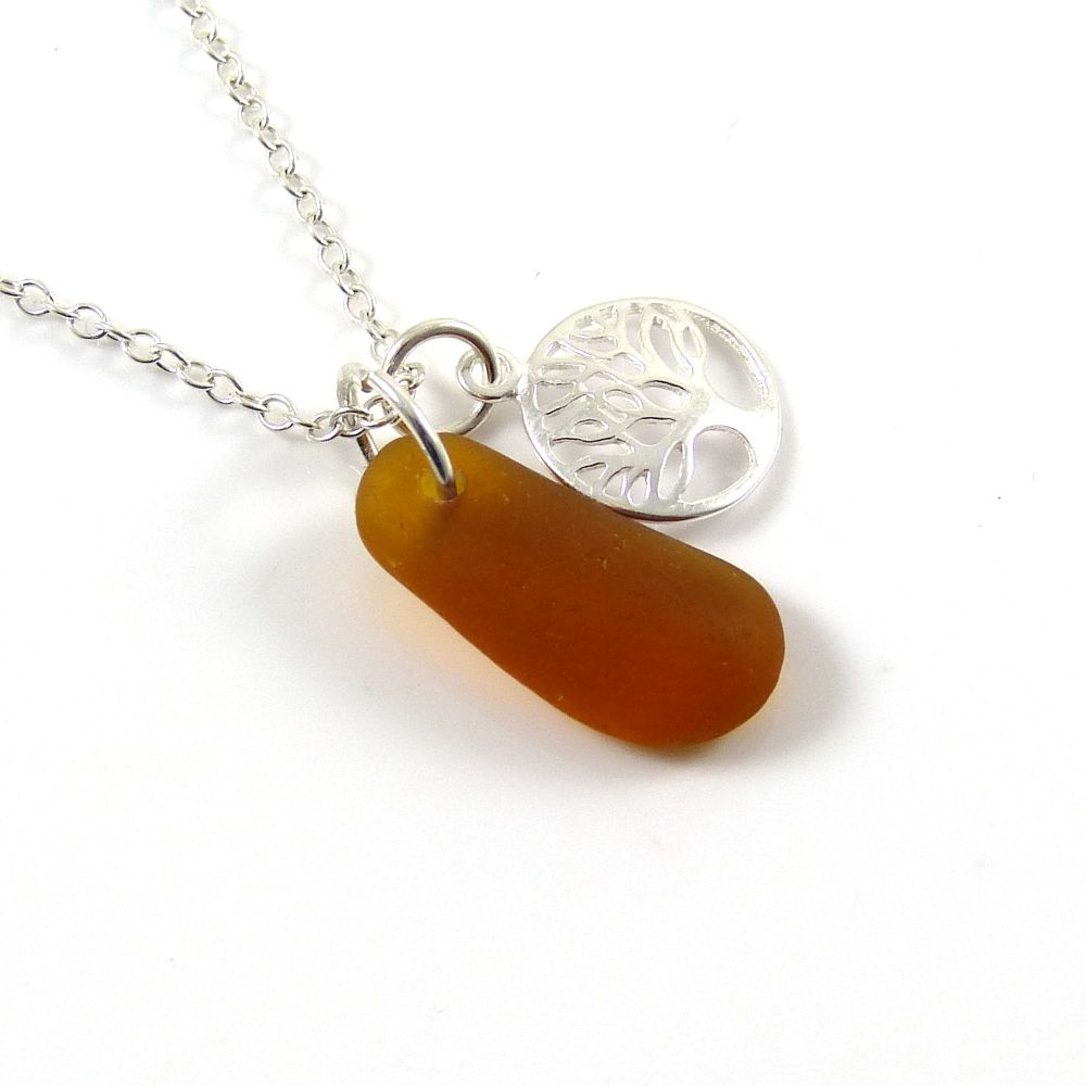 Amber Sea Glass and Sterling Silver Tree of Life Charm Cluster Necklace c25