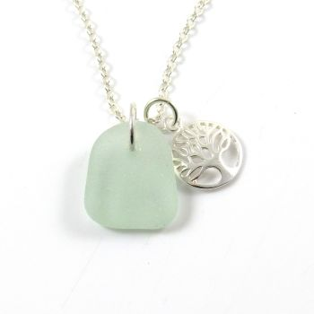 Seafoam Sea Glass and Sterling Silver Tree of Life Charm Cluster Necklace c257