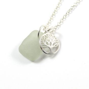 Seamist Sea Glass and Sterling Silver Tree of Life Charm Cluster Necklace c260