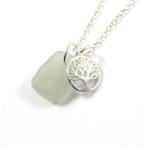 Seamist Sea Glass and Sterling Silver Tree of Life Charm Cluster Necklace c