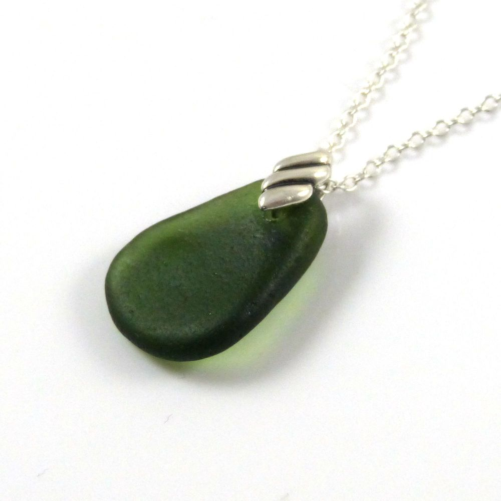 Hunter Green Sea Glass Necklace NADEEN