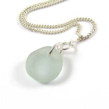 Pale Aquamarine English Sea Glass Necklace SALENE