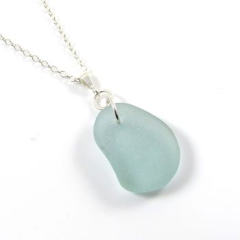 Aquamarine English Sea Glass Necklace CHERYL