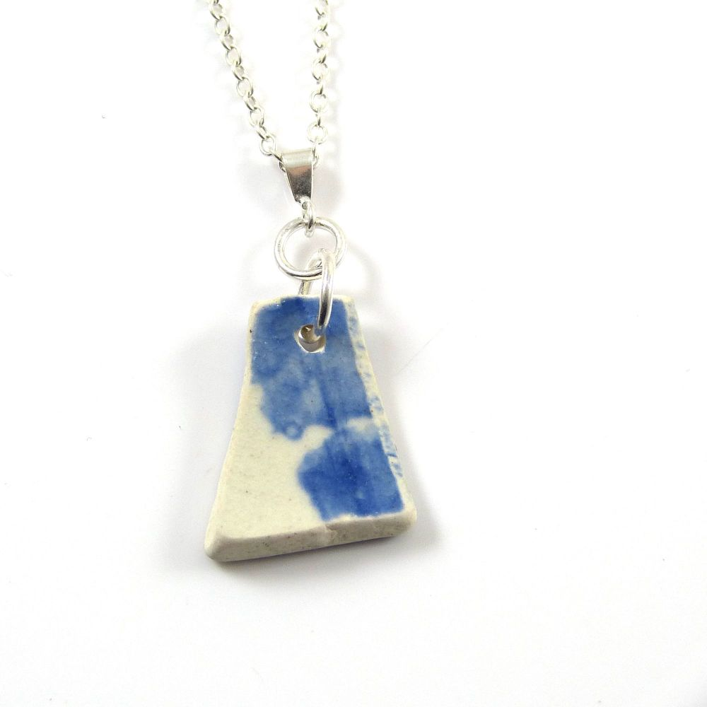Blue and White Beach Pottery on Sterling Silver Necklace BRIGITTE