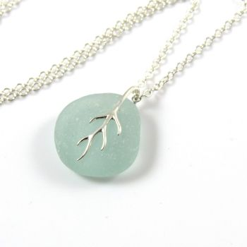 Aquamarine Sea Glass And Silver Tendril Pendant Necklace ELAYNA