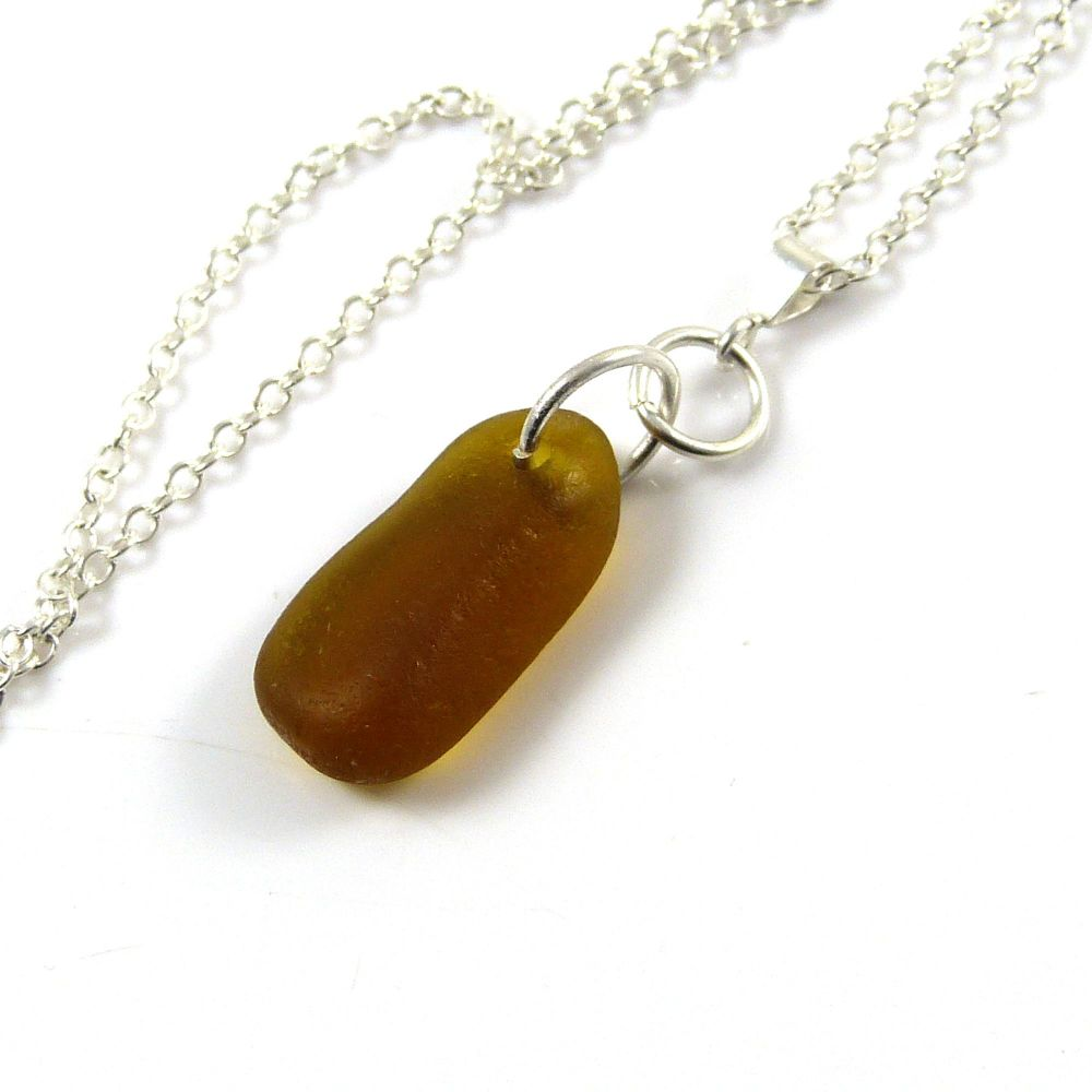 Amber English Sea Glass Necklace CELINE