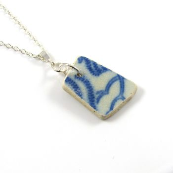 Blue and White Beach Pottery on Sterling Silver Necklace ODETTA