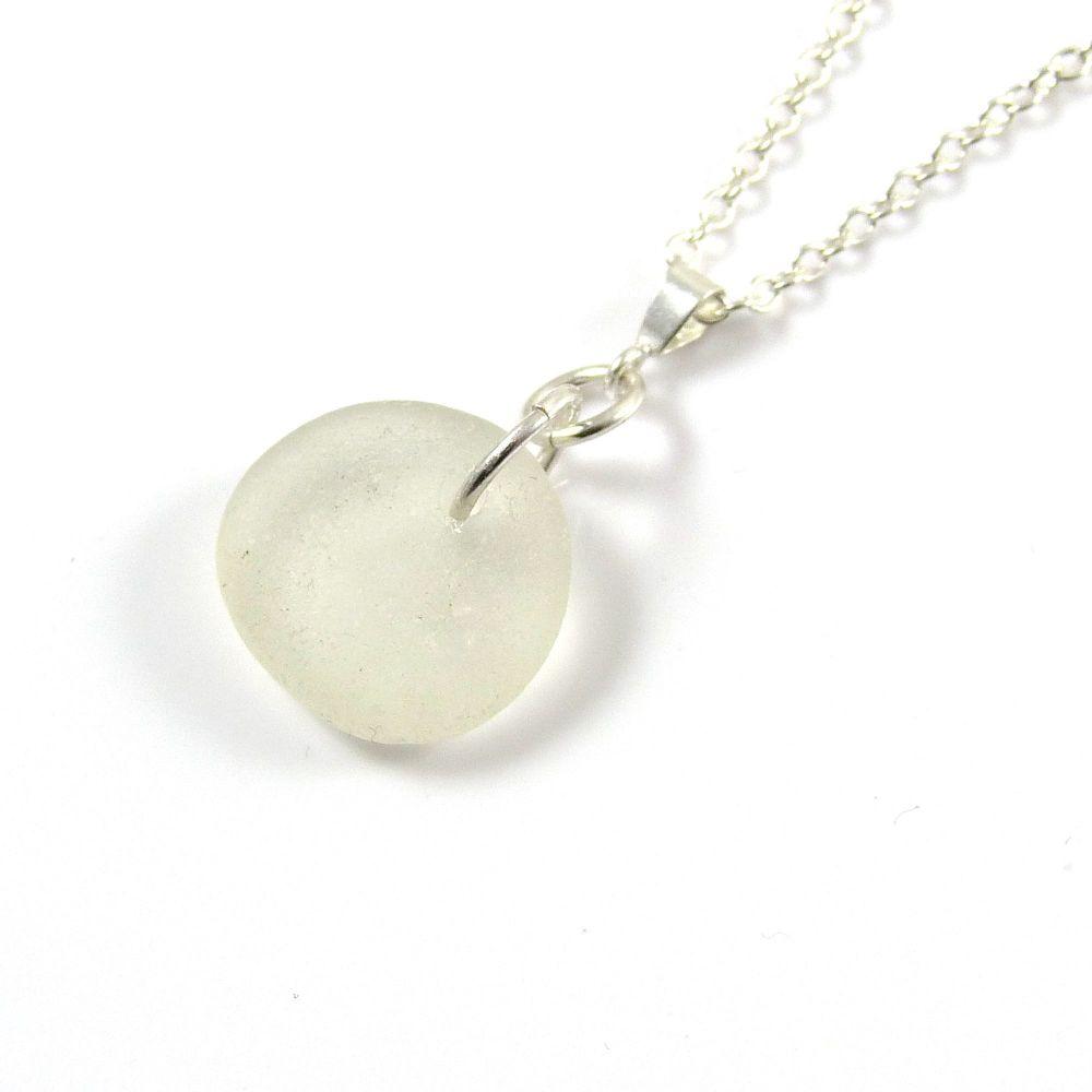 Pure White English Sea Glass Necklace ADETTE