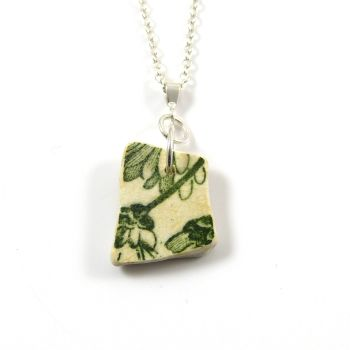 Green and White Beach Pottery on Sterling Silver Necklace NANON