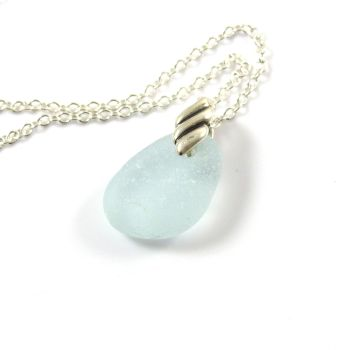 Pale Aquamarine Sea Glass and Silver Necklace BLANCHE