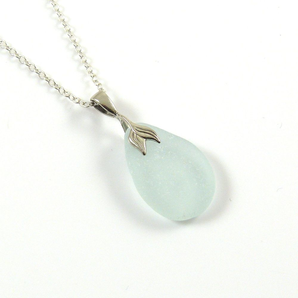 Blue Seafoam Sea Glass Necklace Mermaid ELKE