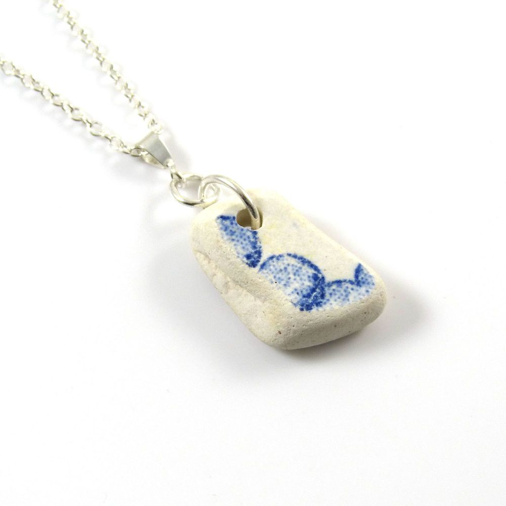 Blue and White Beach Pottery on Sterling Silver Necklace DIANDRA