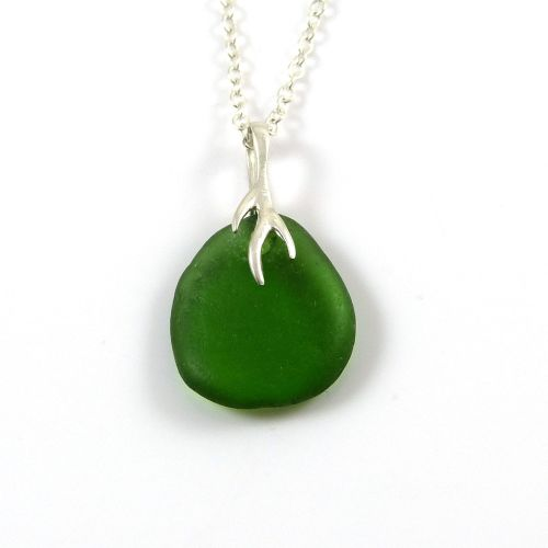 Emerald Green Sea Glass and Silver Tendril Necklace ELSE
