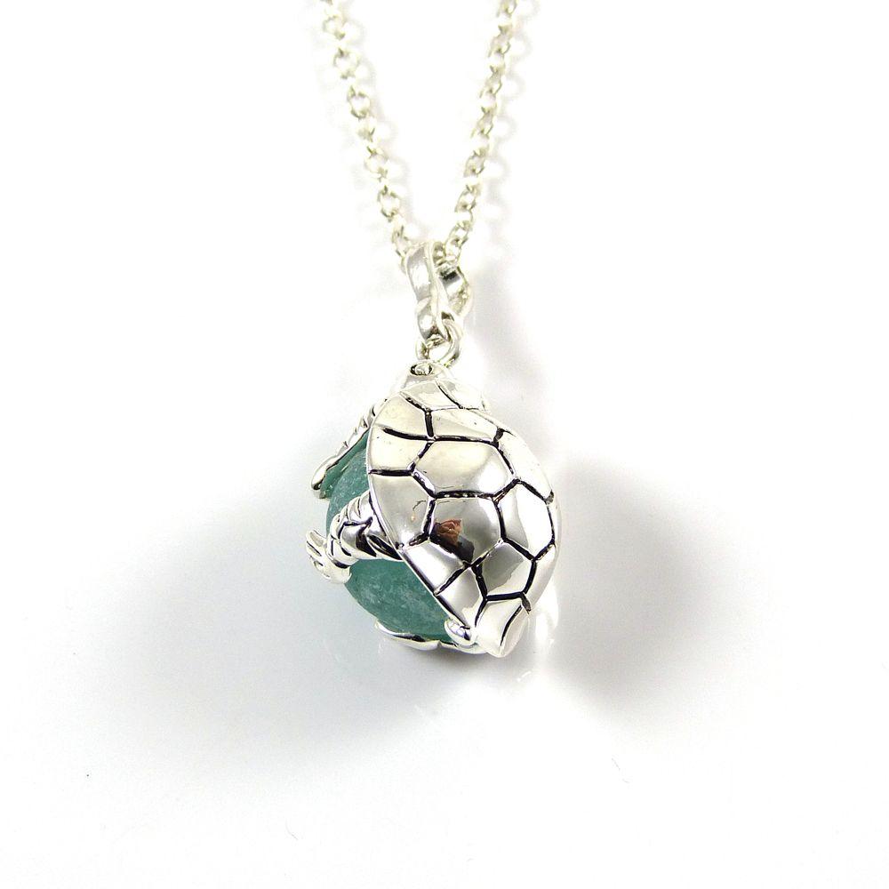 Deep Seafoam Sea Glass Marble Turtle Locket Necklace