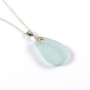 Blue Seafoam Sea Glass Necklace Mermaid JOHANNA