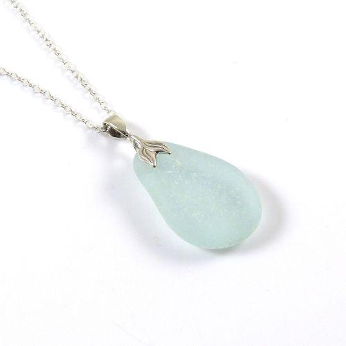 Blue Seafoam Sea Glass Necklace Mermaid JOHANNA