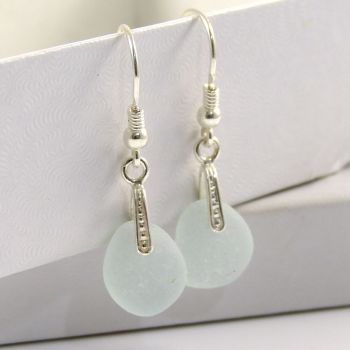 Seaspray Sea Glass Sterling Silver Earrings e68