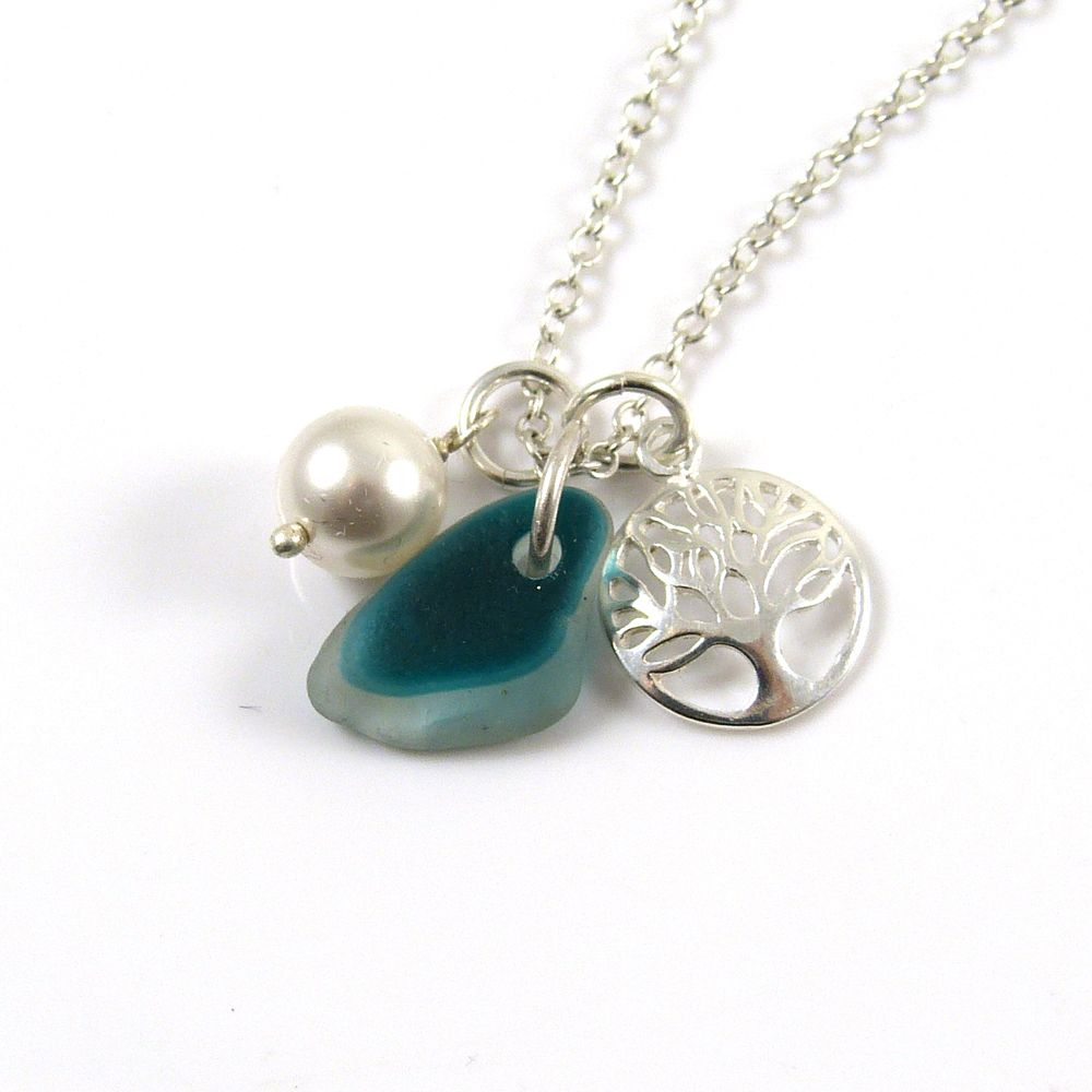 Teal Multi Sea Glass, Sterling Silver Tree of Life Charm and Swarovski Crys
