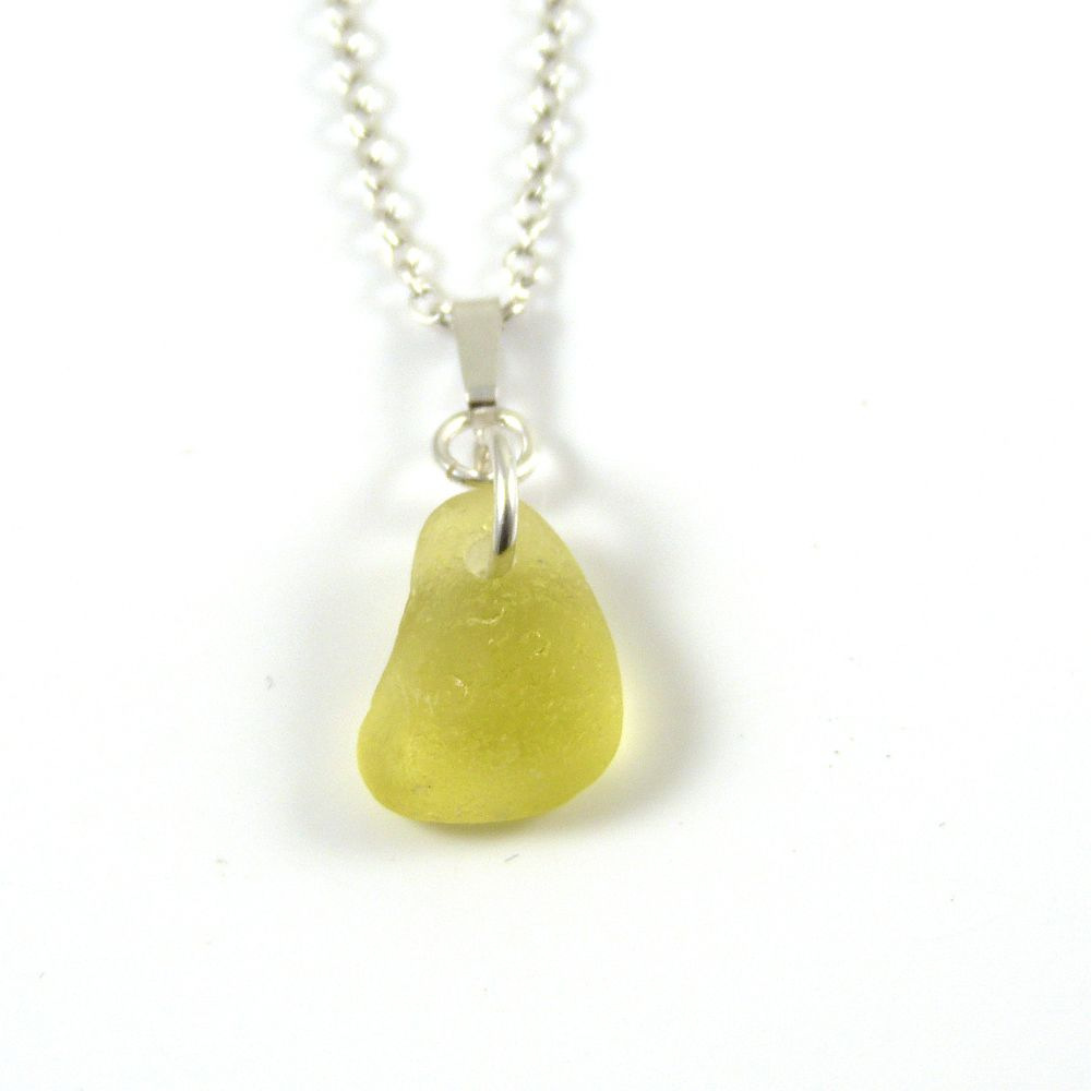 Citron Yellow English Sea Glass Necklace PIA