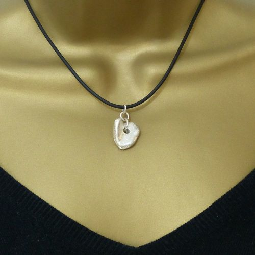 Sterling Silver Cast Heart Pendant Necklace