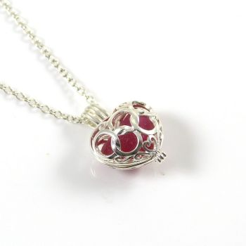 Red Sea Glass Multi Heart Locket Necklace