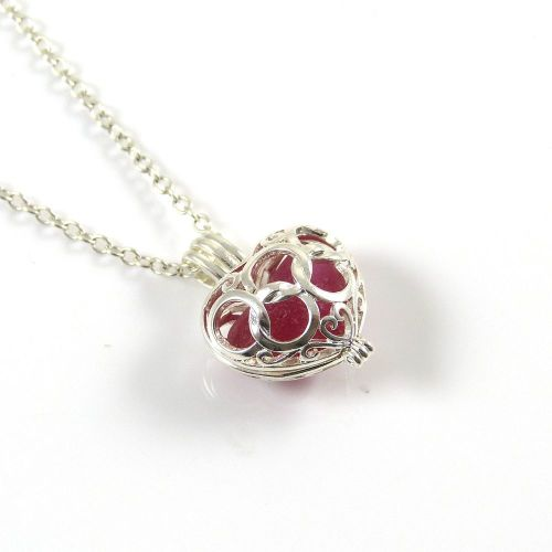 Well-liked Red Sea Glass Multi Heart Locket Necklace JU13