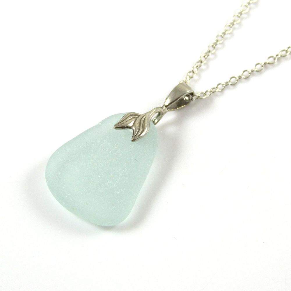 Blue Seafoam Sea Glass Necklace Mermaid MINA