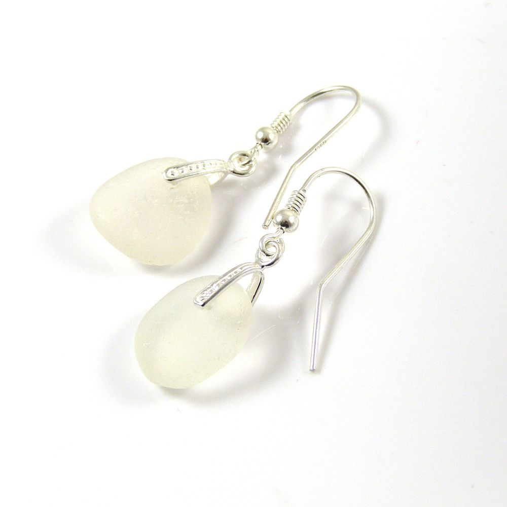 One of a Kind Sea Glass and Sterling Silver Earrings e69