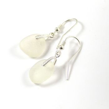 Sea Glass and Sterling Silver Earrings e69