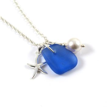 Sapphire Blue Sea Glass, Sterling Silver Starfish and Swarovski Crystal Pearl Necklace