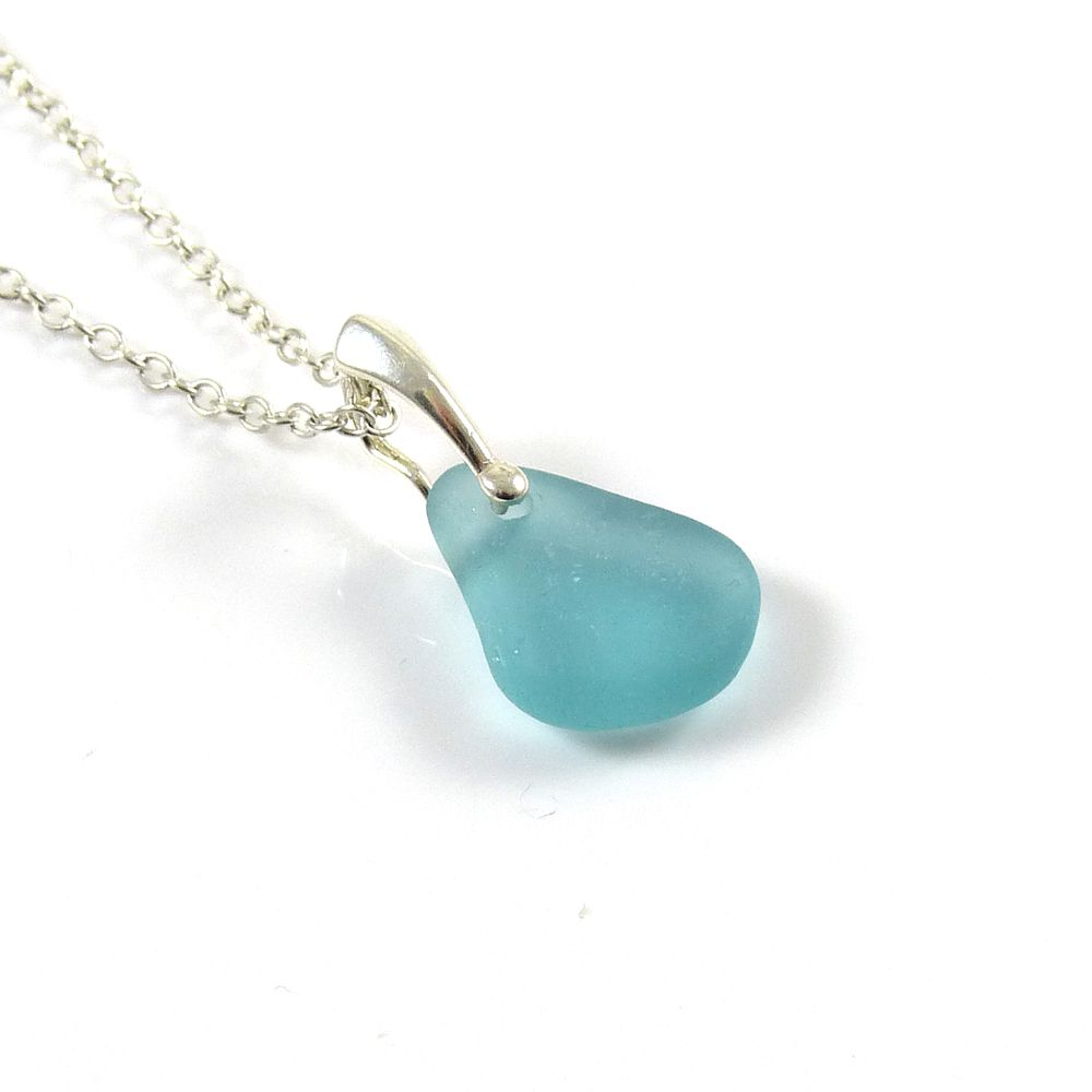 Aquamarine Sea Glass and Sterling Silver Necklace EMILIA