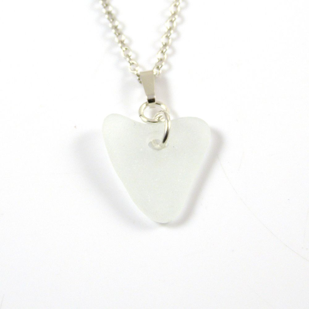 Pure White English Sea Glass Heart Necklace FIFI
