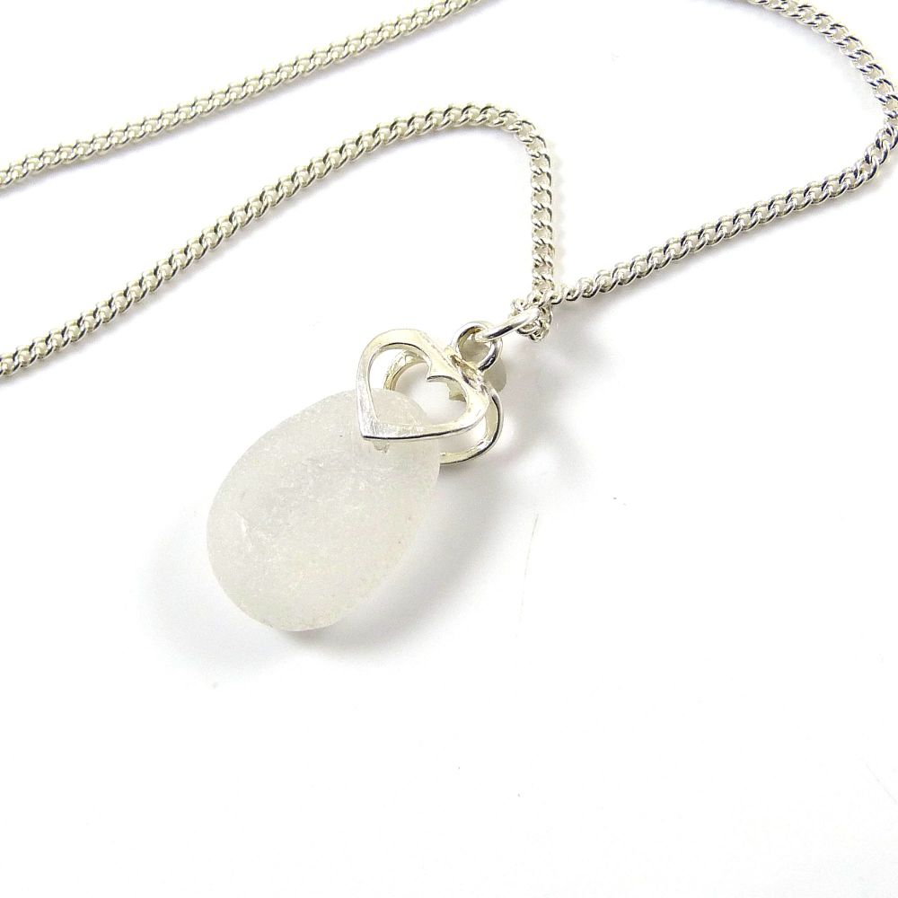 Pure White Sea Glass Necklace with Sterling Silver Bail JEANNA