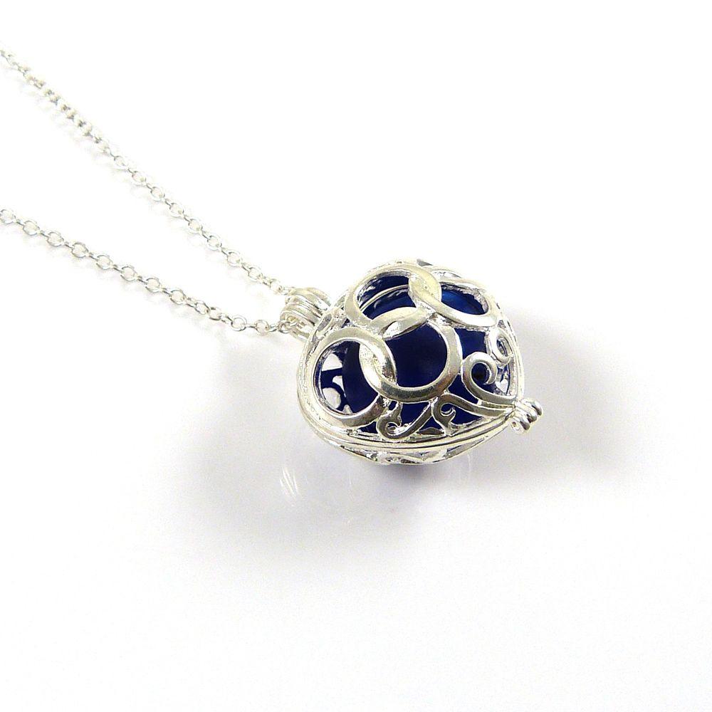 Cobalt Blue Sea Glass Heart Locket Necklace
