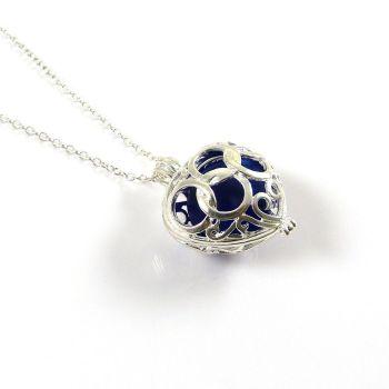Big Cobalt Blue Sea Glass Heart Locket Necklace