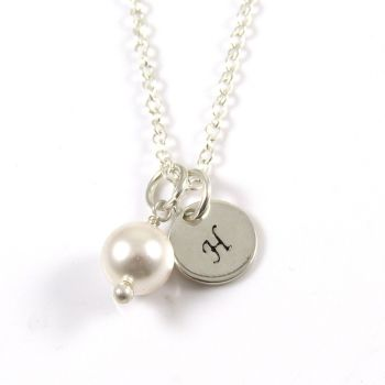 Personalised Necklace Swarovski Crystal Pearl and Handstamped Sterling Silver Disc