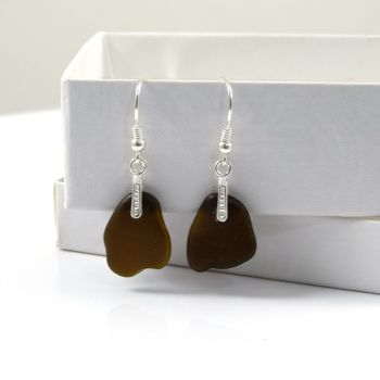 Sea Glass Sterling Silver Drop Earrings