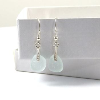 Sea Glass Sterling Silver Drop Earrings