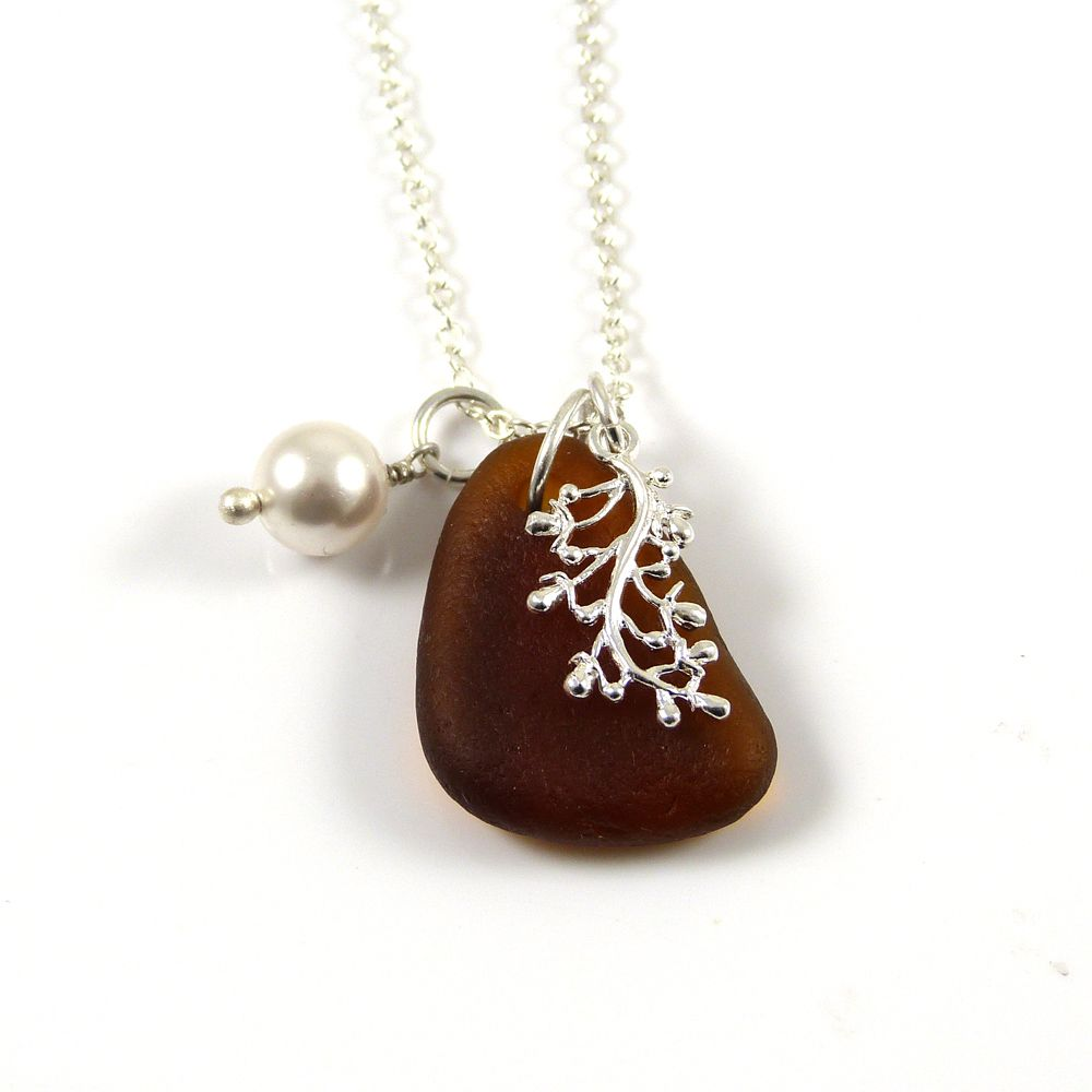 Amber Sea Glass and Silver Coral Charm Necklace