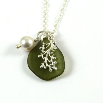 Moss Green Sea Glass and Silver Coral Charm Necklace
