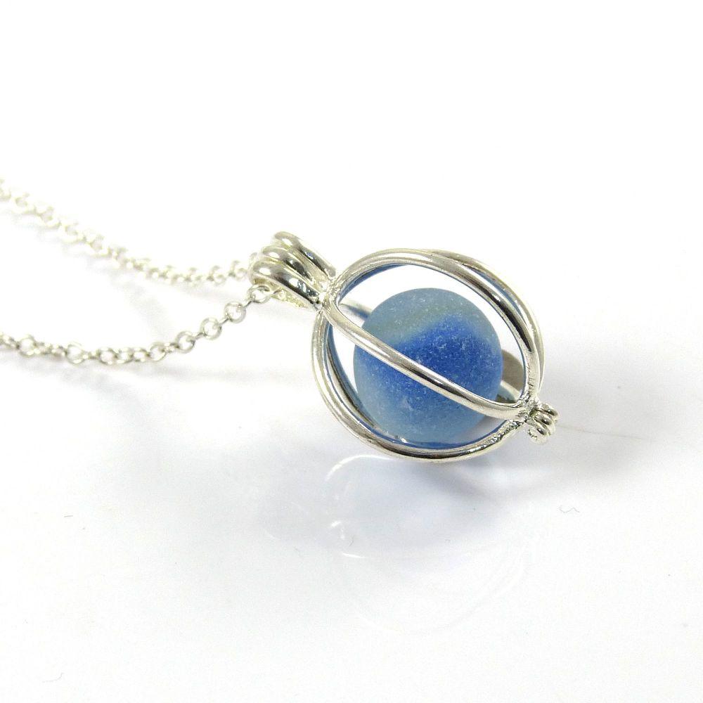 Tiny Blue Sea Glass Marble Locket Necklace MONIKA