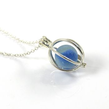 Tiny Blue Sea Glass Marble Locket Necklace MONIKA
