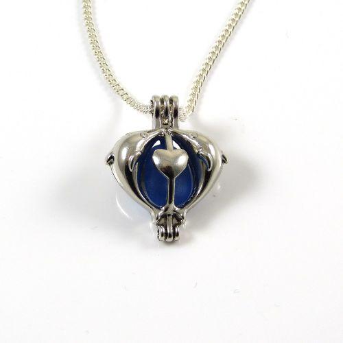 Sapphire Blue Sea Glass in Dolphin Locket