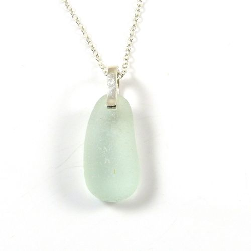 Pale Seafoam Blue Sea Glass and Silver Necklace KATRINE