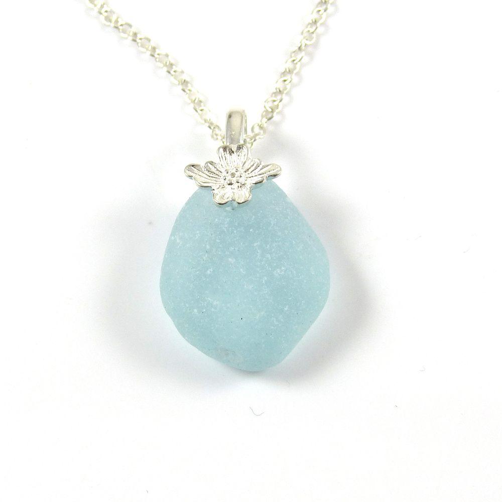 Glacier Blue Sea Glass Necklace CAILA