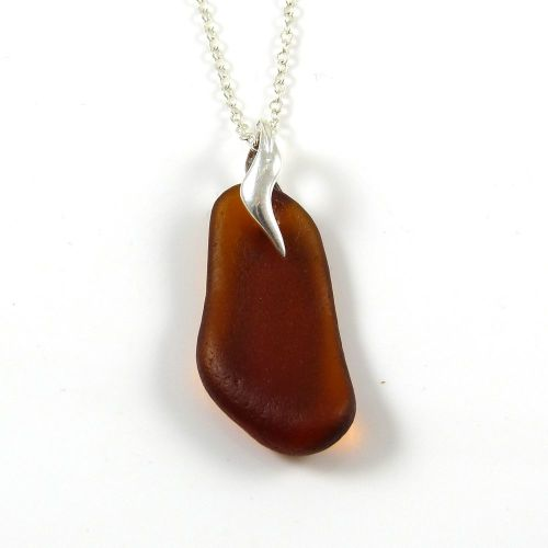 Deep Amber Sea Glass and Silver Necklace BELORA